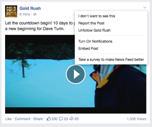 """Using this post from Goldrush as an example, click on the downward arrow and then the """"Unfollow X"""" option. You're still friends but their posts will no longer automatically show up in your newsfeed."""