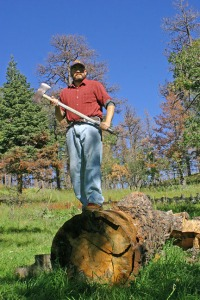 Goofing off with the axe and a tree that the forest service cut down along a fire line of the 2012 forest fire.