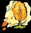 tree leaves blown